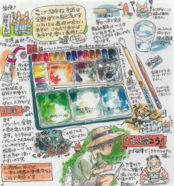 "Hayao Miyazaki's advice on how to use transparent watercolors in the booklet of the Ghibli Museum Sketching Set. Title: My recommendation. Transparent watercolor is good. ""transparent watercolor has a strong habit"", ""do not paint stickily and paint after wiping the extra paint and water off"", ""paint thinly the bright part"", ""had better not use white"", ""paint other color after under color has dried"", ""let's mix the color and use it."" Light the wool which protrudes on a new painting brush. Anything is fine for a water vessel. A retractable knife is enough for the pencil sharpener. One 2B pencil is enough for the pencil. Divide the palette into seven zones: Bright, Dark, Black, Green 1, Green 2, Blue 2, Blue 1. Do not use the eraser. Do not draw a guideline for a picture. ""these painting materials are enough for a 2-week trip and preparations for a movie."" Found this on Nausicaa.net along with the news that the new Takahata and Miyazaki Ghibli films for next summer are expected be announced this week!  ak"