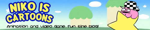 "Okay! Finally added a Kirby banner to the rotation on my blog! Not really sure why I went with video game parodies when the blog is called ""Niko Is Cartoons,"" but…whatever."