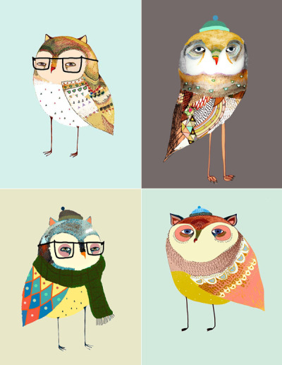 kari-shma:  Owl art by Ashley Percival  Werryyy cuteee
