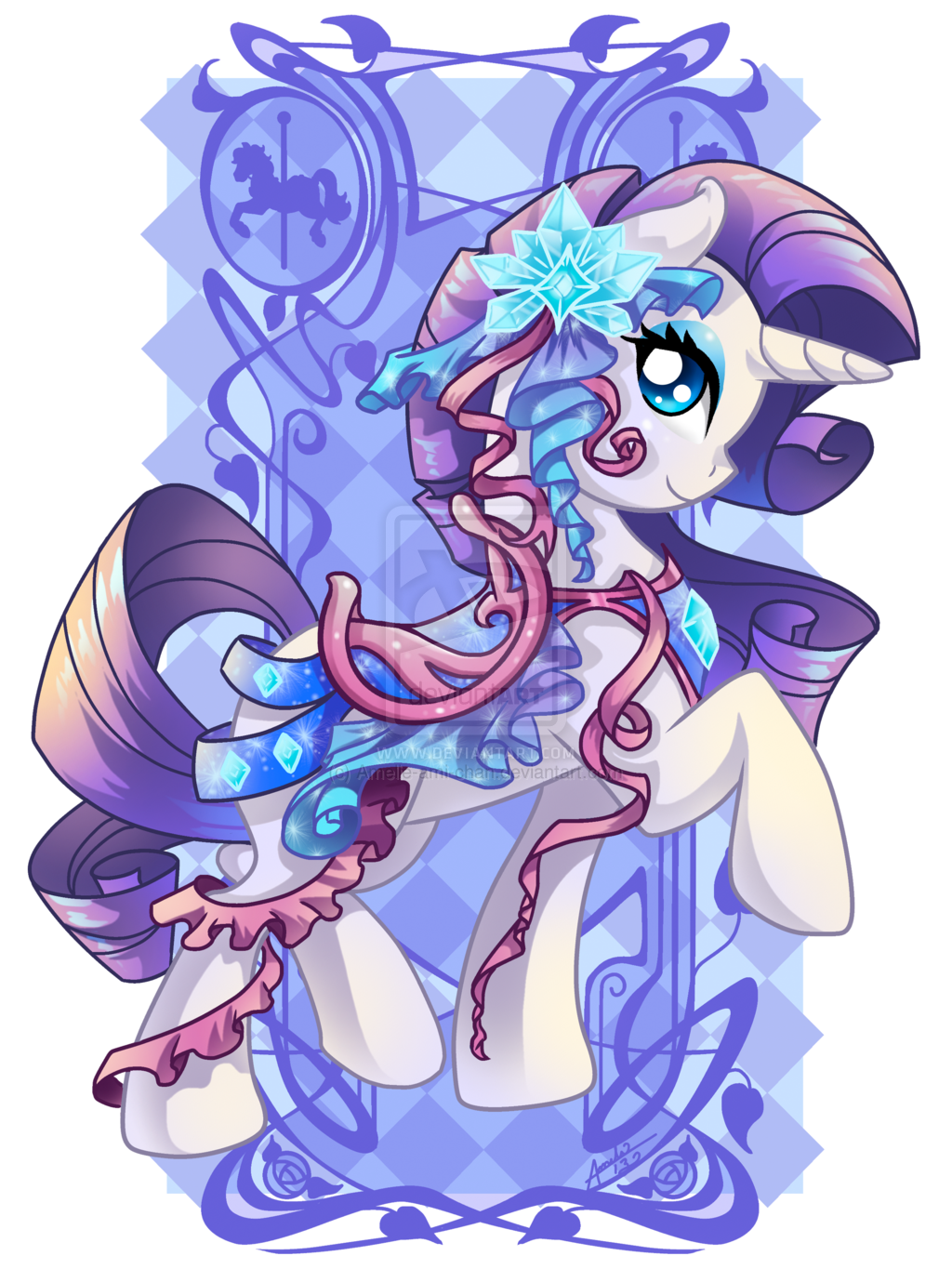 theponyartcollection:  Rarity Carousel Cutie by ~Amelie-ami-chan