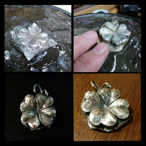 A sterling silver 4 leaf clover.  The 2 top pictures are in progress, using the chasing and repoussé technique.  The bottom 2 pictures are of the finished pendant. For more photos of lucky shamrocks that I've made, please visit this photoset on flickr .