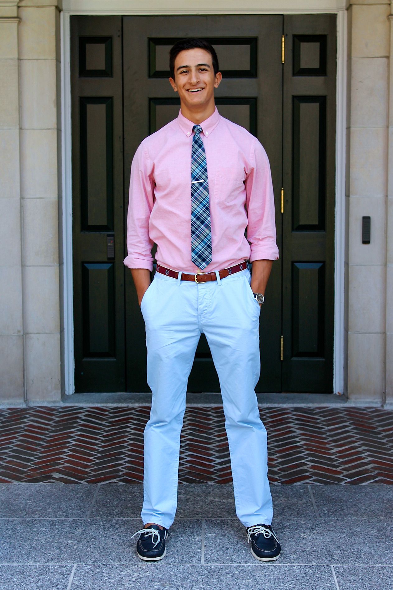 theexeterdresscode:  julian, '14, MA this always fashion forward crew captain kept it preppy with a pink shirt and a blue plaid tie that complimented his baby blue pants and navy sperry's!