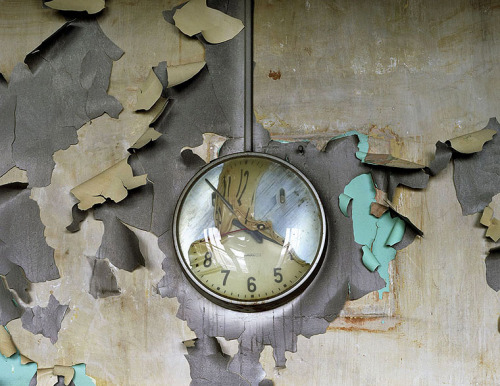 ufansius:  Melted clock, Cass Technical High School (abandoned) - Detroit, Michigan