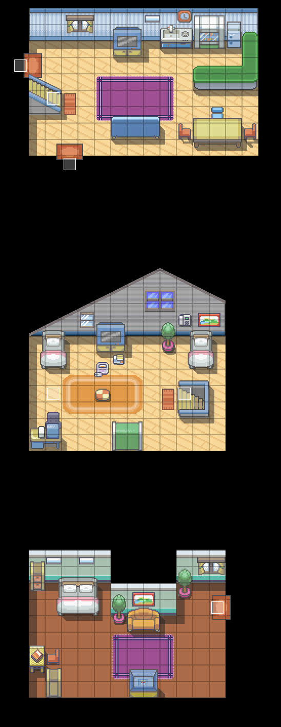 "Hi guys!!!!So, when I mapped Pallet Town in the Gen IV layout, I added a fourth house. Here it is!!!!   I really wanted to go for something ""different"".   Like make it look neater than just the square design, and not have the exits be in each separate wall. So like in the living room I have both exits on the left side.   Anywho, this is a bit of an earlier version. Where it is at now I have added some more shadows and made it look nicer. But yeah :)~TBC"
