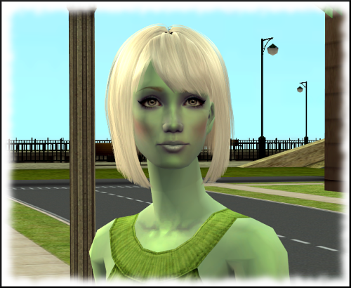 My defaulted version of a truly alien sim - green skin, white hair, light grey eyes.