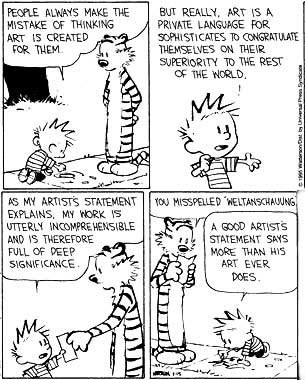 hyperallergic:  In Defense of the Artist StatementCalvin's (of Calvin and Hobbes) take on the artist statement (image via artvent.blogspot.com) As a…View Post