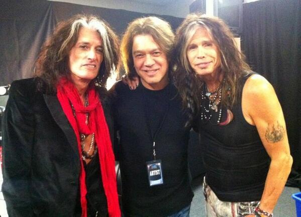Aerosmith, Eddie Van Halen - With Steven and Joe before the show last night. #vanhalen #eddievanhale