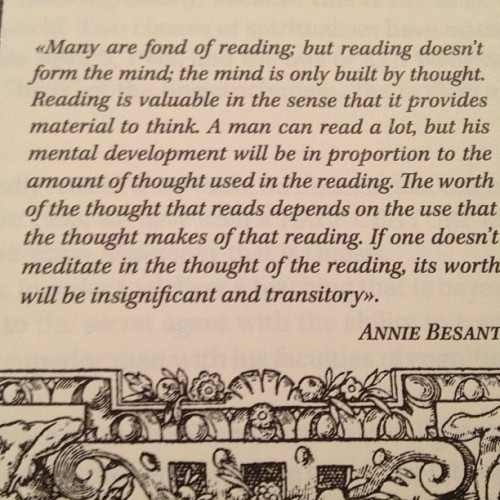 Annie Besant on Reading
