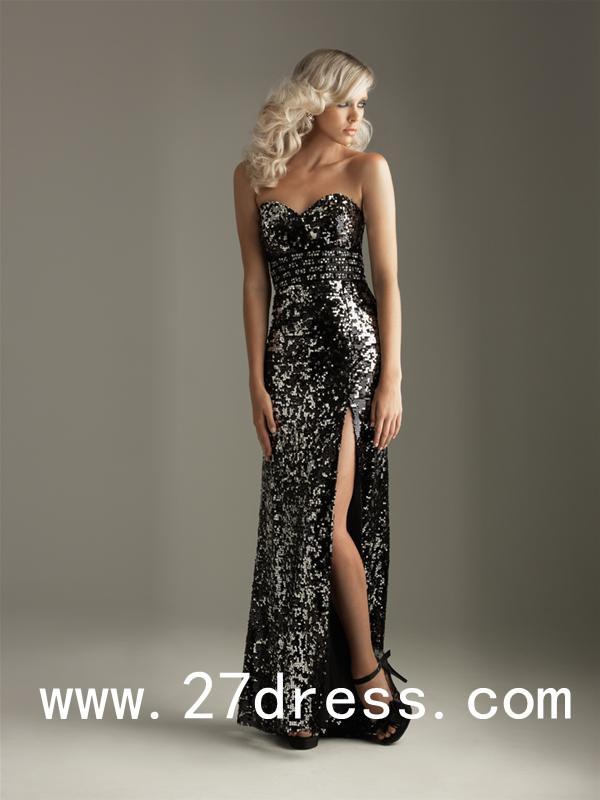 $169 New Sexy Black Sweetheart Zipper Sequins Sheath Floor Length Evening Dresses AT 27DRESS.COM BUY- http://bit.ly/1fAGyyW