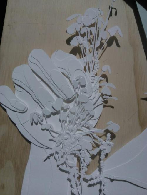 Cut paper piece in progress. Joey Bates