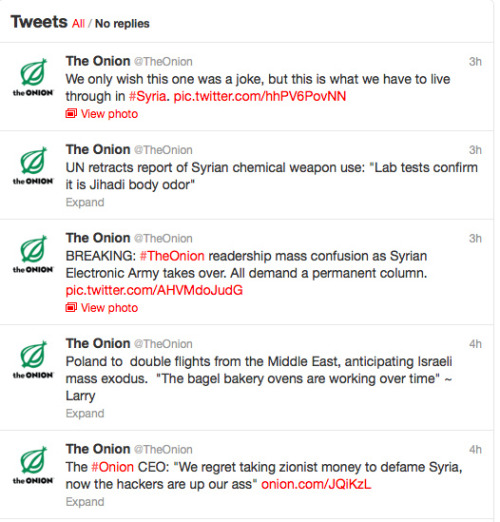 "vicemag:  VICE: What made you decide to hack the Onion this week after spending so much time targeting serious news organizations?The Shadow: We are well aware of the satirical nature of the Onion, but this does not detract from the fact that the basis of their ""humor"" was rooted in the narrative promoted by most major corporate media. What convinced us to make our move was an article titled ""The Onion Website Joins the U.S. Anti-Syria Club"" by Shamus Cooke that details how the Onion can be a more effective wartime propaganda tool than even ""serious"" and seemingly credible media. The irresponsible promotion of chemical weapons claims and attribution of all the mayhem in Syria on the one side attempting to keep order is very much an assumption of their focus on Syria. This is why the majority of informed people do not find such articles funny.Why did you accuse the Onion of taking ""Zionist money"" in exchange for defaming Syria?We have various tactics when we penetrate a media outlet. For the Onion, we decided to loosely follow their style. We do not seriously suggest any kind of money transfer from unnamed ""Zionist"" sources, we realize it is more likely that the Onion follows the corporate line as a matter of ideology. During the Second World War, both the Germans and the Americans used satire to attack one another. The Onion serves the same sort of wartime role that the Disney anti-German short films did back then.What do you think about the Onion's response?Many readers found it in poor taste. One Twitter user responded with a simple ""yikes."" This reaction was exactly what we were hoping for, as the writer placed all their anger in it, dropping the mask of the real situation in Syria. The rebels were depicted in the exact same manner as reality, so it cannot really be classified as satire except with one difference—the Syrian army will win and we don't have a ""base"" that can be attacked. —We spoke to an alleged member of the Syrian Electronic Army about hacking The Onion's Twitter. Full interview"