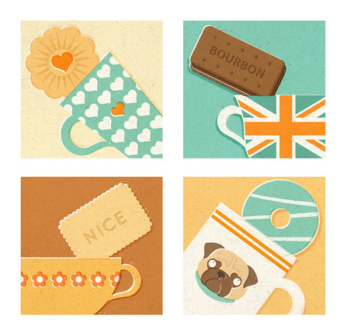 thingssheloves:  (via Tea and Biscuits Art Print by Zara Picken | Society6)