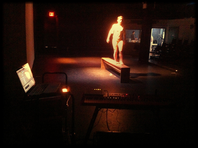 Tech for Michael Clark at the Secret theater in Queens. Performance at 8 tonight. on Flickr.