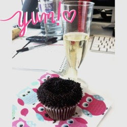 Champagne and cupcakes at work..