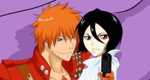 Ichigo and Rukia as the sexy Dante and Lady from Devil May Cry. Fun Fact: Fumiko was the voice of Lady in the anime.  See the whole picture click it.