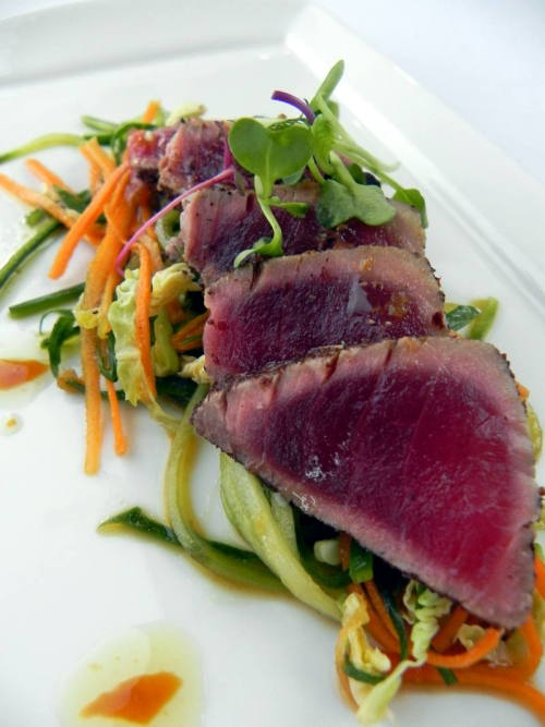 Sumac Seared Ahi Tuna with cucumber, micro greens salad and ponzu from Heritage Grill