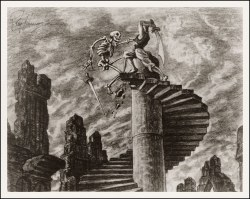 2headedsnake:  Ray Harryhausen's production drawing for 'The Seventh Voyage of Sinbad'
