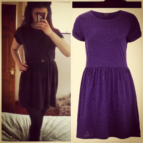 Finally got the dress! Excuse the pose lol. #dress #love #purple #lovely #speckle #flecked #marl #topshop #fashion #girly #girl #finally #got #it #yay #excited #hashtag #hehe #lol #shopping #shop #money