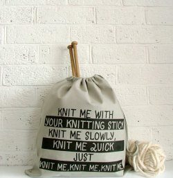 thejitteryknitter:  Perfect bag with the perfect sentiment (available at KellyConnorDesigns Etsy shop)
