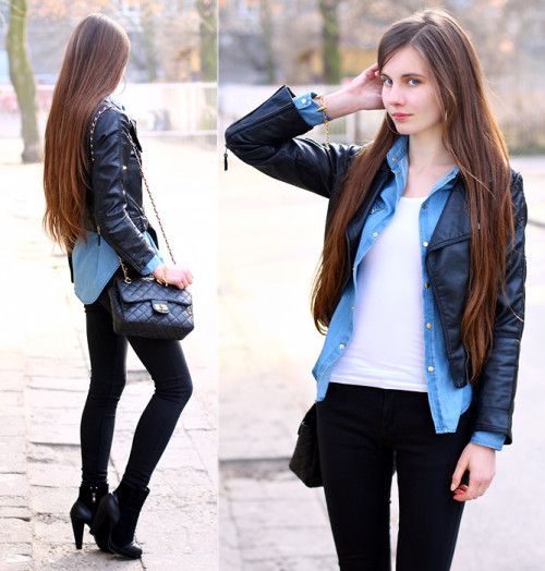 lookbookdotnu:  Leather & Denim (by Ariadna Majewska)