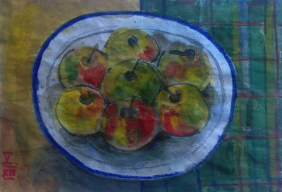 yearinwatercolor:  Apples, watercolor on Japanese paper 25x18cm, May/2013 #berndblacha on Flickr.