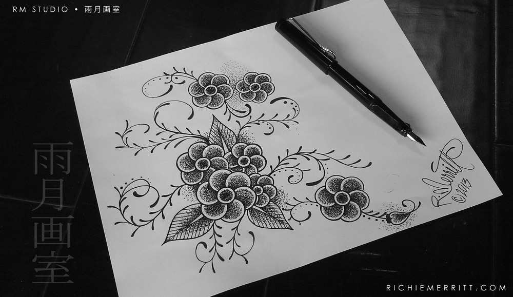 richiemerritt:  An Original Dotwork Flower Illustration for a Custom Fit Shoulder Tattoo. (Six Petal Flower / Fan Flower)This Was Tattooed On My Client Mariah.Dotwork Tattoos are the only other style of tattooing that I'm persuing besides Traditional Japanese Tattoos.If you are interested in me creating a special Dotwork Tattoo or Fine Art Piece for you… ► Contact Me. ♥RM