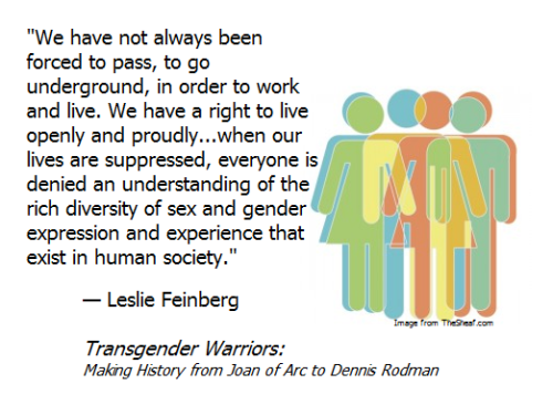 LGBTQ* Books You May Want To Read Transgender Warriors: Making History from Joan of Arc to Dennis Rodman by Leslie Feinberg   In this fascinating, personal journey through history, Leslie Feinberg uncovers persuasive evidence that there have always been people who crossed the cultural boundaries of gender. Transgender Warriors is an eye-opening jaunt through the history of gender expression and a powerful testament to the rebellious spirit. (text from GoodReads.com)