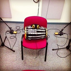Dholki on a red chair - True Story #AKG #mic #recording #indian #percussion  (at UH Film, Video And Music Building)