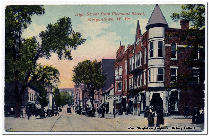 High Street and Pleasant Street, downtown. That's the Brock, Reed, and Wade Building there on the corner. The spire on the corner building is gone, sadly, lost to a fire several years ago, but generally, this corner is remarkably similar to what it looked like 100 or more years ago. The historical photographs were taken, in sequential order, in (1)1926, (2)1940-1950, (3)1940-1950, and (4)1965 (The photos, as always, come courtesy of West Virginia History On View.)