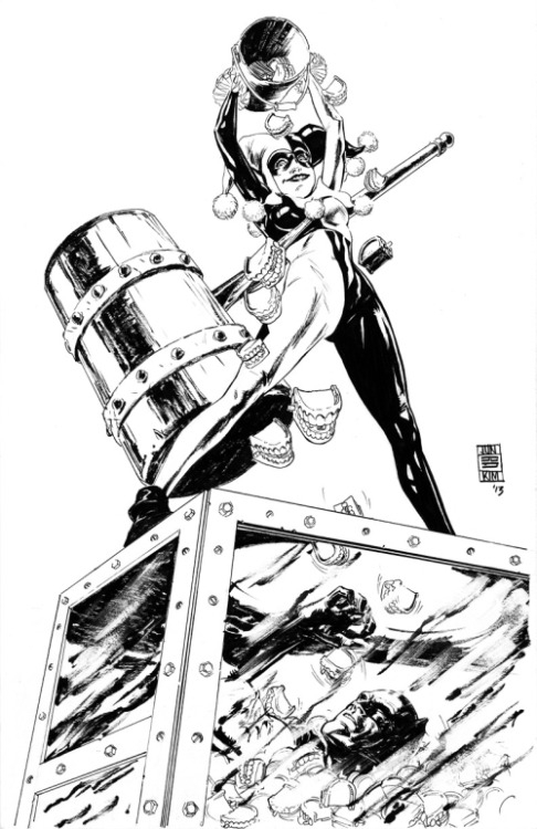 junbobkim:  Batman vs Harley Quinn  Batman vs. Harley Quinn by Jun Bob Kim Pens, Brush & Inks on 11″x17″ Bristol Board.  View Post
