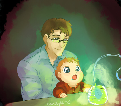 crazyk-c:  A drawing of Uncle Bruce Banner showing Peter science for the first time for suzukinoba (hope you enjoy~)