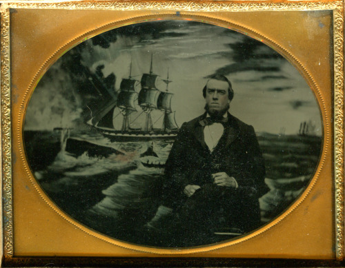 ca. 1860's, [ambrotype portrait of a dignified gentleman, possibly a sailor, posed in front of a painted mural of a whaling scene] via Ebay