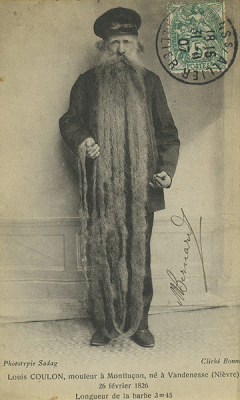 collective-history:  Louis Coulon, 'the longest beard in the world', 1910 This beard, nearly 11.5 feet (3.5m) long, belonged to Louis Coulon, who was nearly 80 when this picture was taken. It must have been a lifetime's growth.