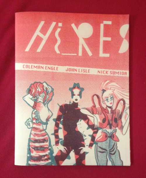 "For my first series of recommendations, reviews and thoughts for this blog, I'm going to start with a few of my favorites from SPX 2013.  I'd like to start by posting a rec for a fashion zine collaboration by Coleman Engle, Nick Sumida and John Lisle called Hi_RES. This zine is a surreal ride of three different art styles by three different artist. It's broken up into three section for each artist. The zine is a 2 color risograph printing. Color value and slight mistakes vary from zine to zine. Making each copy ""one of a kind"". I actually saw Hi_RES on tumblr before journeying to SPX. It was on my 'gotta check this out' list and I have to say I was not disappointed. I've found that I really have an attraction f"