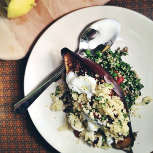 Chermoula Aubergine + Tabbouleh recipe on the blog now. One of the best recipes I've tried so far.