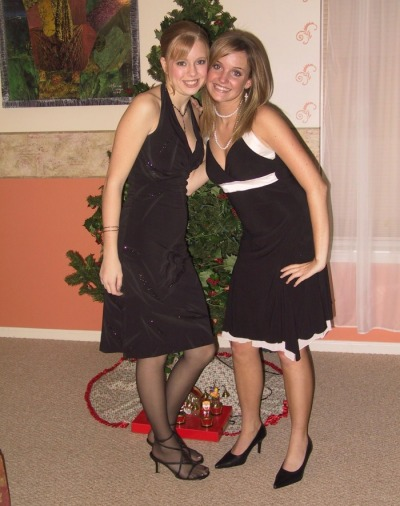 nylonswithsandals:  OMG! OMG! The girl on the left is wearing sheer black tights together with open-toe sandals! OMG! The fashionista blogger mafia will go berserk!