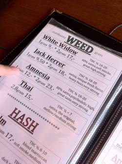 awesome-pot-head:  A marihuana menu in Amsterdam  weed