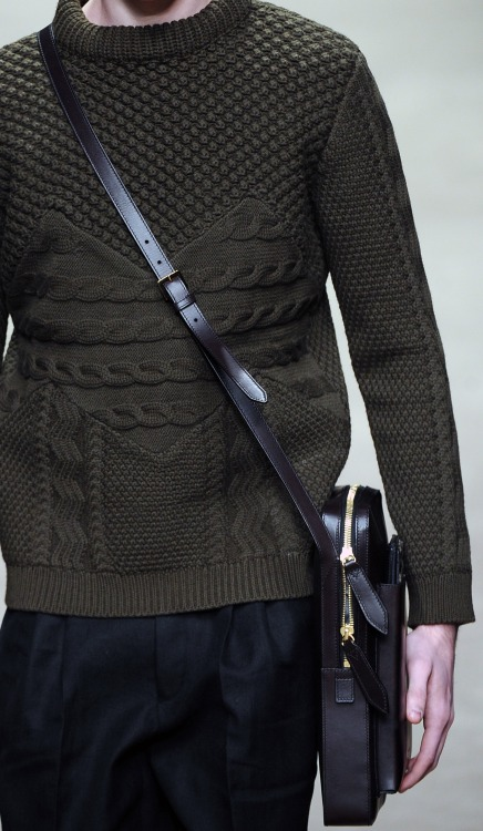 Olive Green intricate knitwear patterns composed a selection of woolen jumpers @Burberry #AW13 #MilanMensFashionWeek