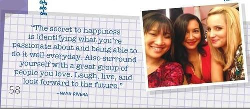 Naya's quote from Jenna's book + a Jenna, Naya, and Dianna pic