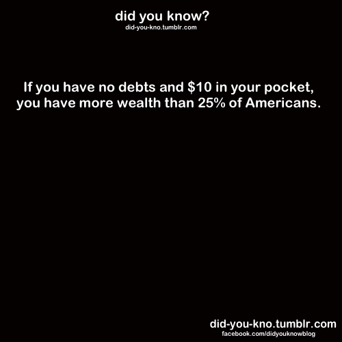 did-you-kno:  Source  Also, if you have $34,000 in your possession (actually), you are in the 1%.