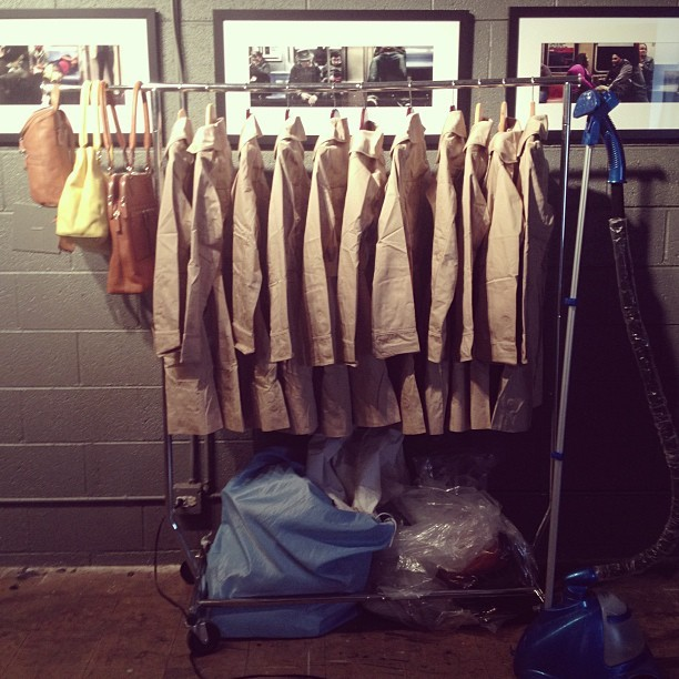 thefabriclab:  Anyone feeling like steaming 12 trench coats for me? Getting @ebagsonline locally designed handbags segment ready for Thursday nights @303magazine Denver Fashion Weekend. #denverfashion #piazzahandbags #DFW #denverfashionweekend #fashion #ebags (at The Wills HQ)