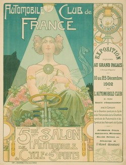Poster design for the 'Automobile Club de France' advertising the 5th exhibition for cars, bicycles and sports by Henri Privat-Livemont, ca. 1902. Source