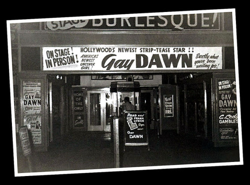 Vintage 50's-era candid photo featuring the front of the 'RIVOLI Theatre'; located in Seattle, Washington.. Gay Dawn appears on the marquee as the week's Featured Attraction..