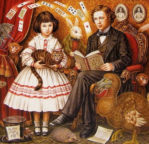 rabbitholetogether:   Illustration of Alice Liddell and Lewis Carroll by Inga-Karin Eriksson, 'The Other Alice' (1993).