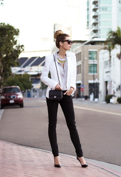 what-do-i-wear:  Sunglasses - Celine, Necklace - Fiel Sol, Blouse - Bella Dahl, Blazer - Asos, Pants - Rag & Bone, Pumps - Christian Louboutin (image: thenativefox)