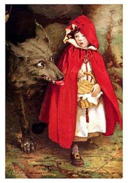heaveninawildflower:  Little Red Riding Hood ( 1911) by Jessie Willcox Smith (1863 – 1935). http://www.surlalunefairytales.com/illustrations/ridinghood/smithred1.html Wikimedia