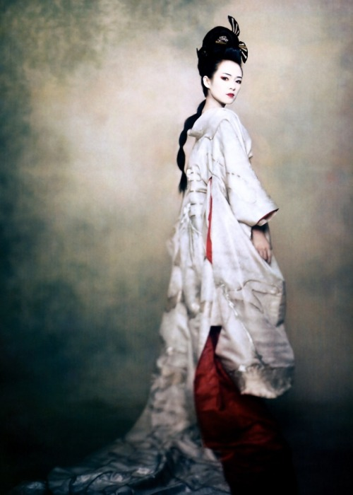 jeou:  bird of paradise, zhang ziyi in a kimono costume designed especially for the 2005 movie 'memoirs of a geisha' for vogue u.s, december 2005