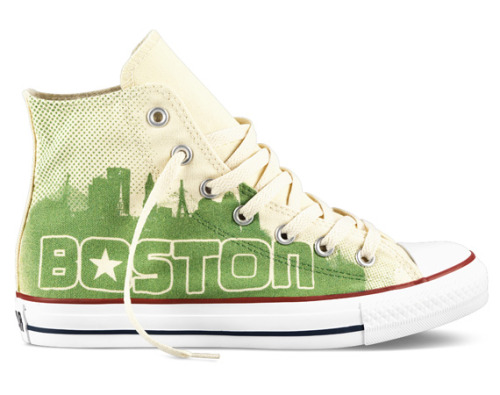 "Converse Chuck Taylor All Star Hi ""Boston"" All proceeds from its sales will go to The One Fund Boston, created to help the victims and families affected by the tragic attack. Get it Here [ko]"