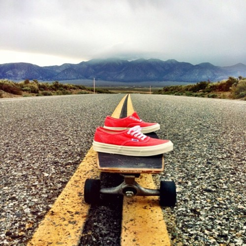 A pair of #Vans, a skateboard and the open road… #allyouneed Photo: @aimee_fuller