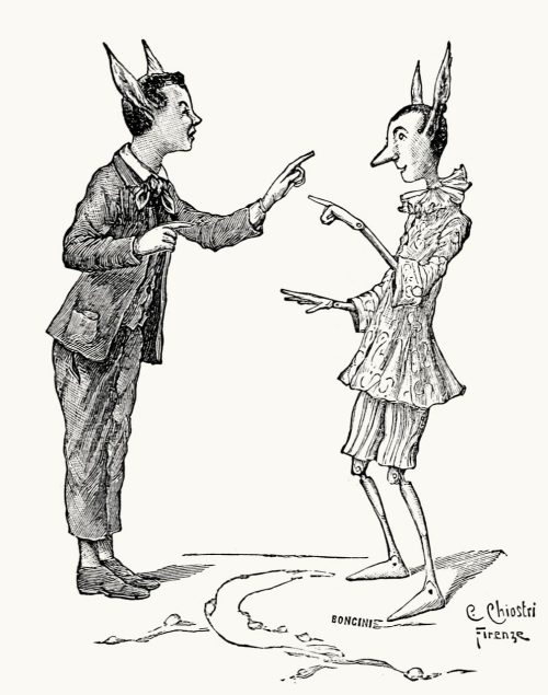 oldbookillustrations:  They began to poke fun at each other, as their ears grew immeasurably. Carlo Chiostri, from Le avventure di Pinocchio, storia di un burattino (The adventures of Pinocchio; story of a puppet), by Carlo, Collodi, Florence, 1902. (Source: archive.org)